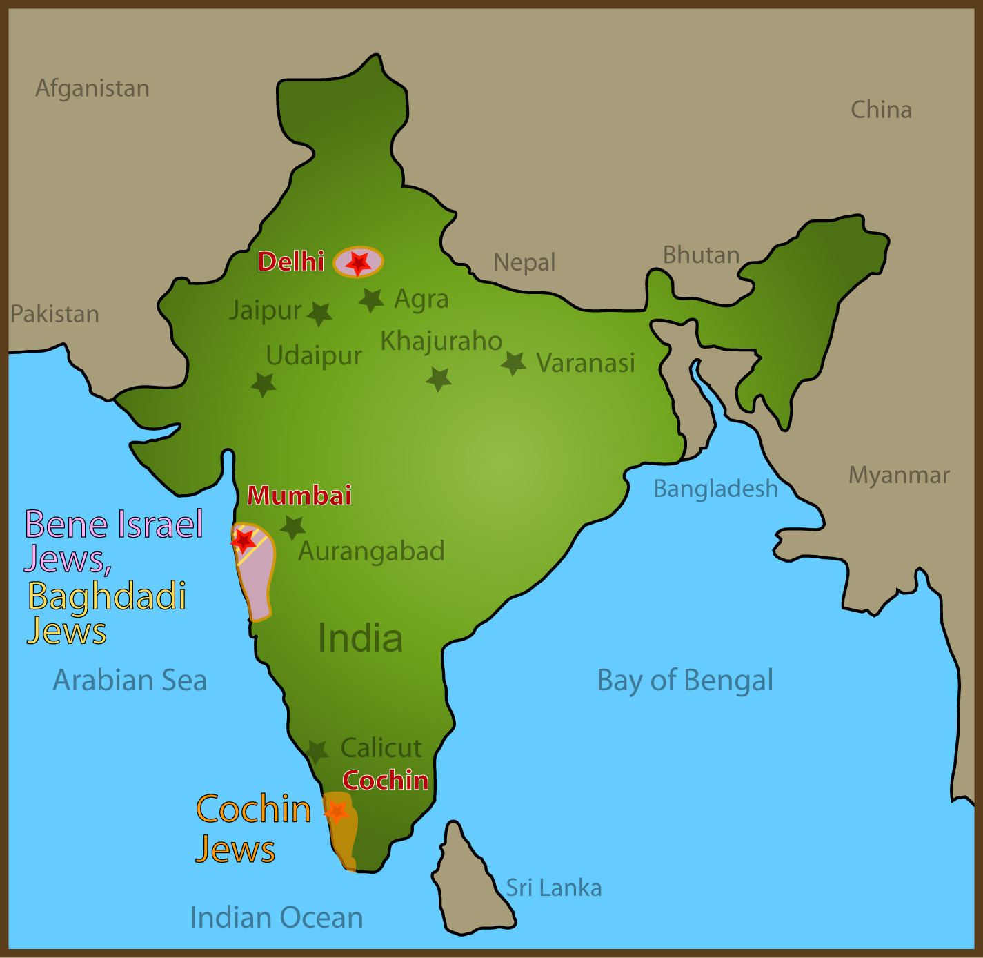 24 Map Of Jewish Sites Visited In India Global Travel
