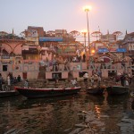 India, travel, Asia, international, Boats on Ganges River at sunrise, Varanasi, India