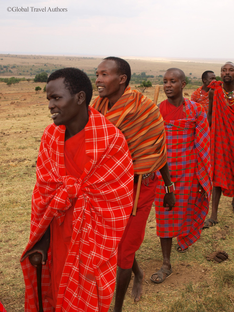 Masai men in Masai Mara, Kenya