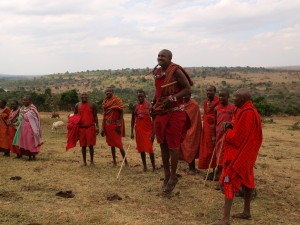 Masai warriors engage in their traditional dance competition