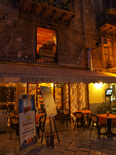 Trattoria El Pepita at night