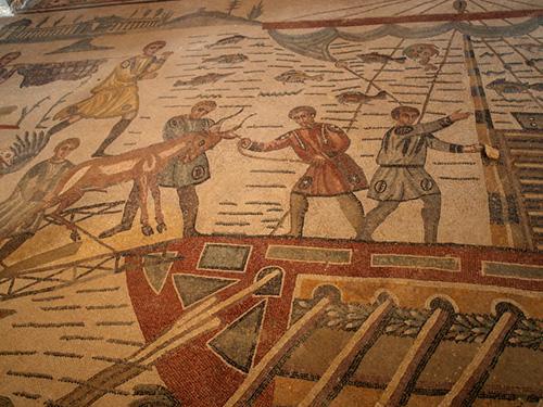 mosaic in Villa Romana Sicily Italy