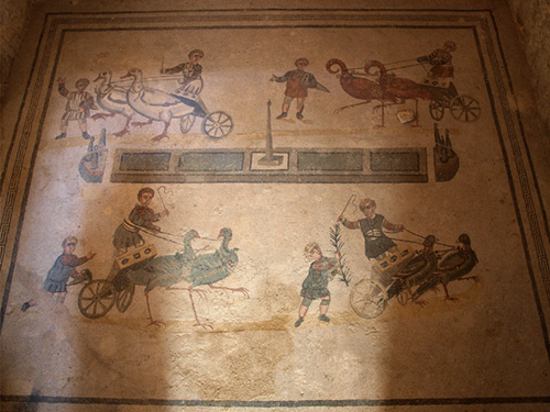 Chariot race mosaic Sicily Roman times