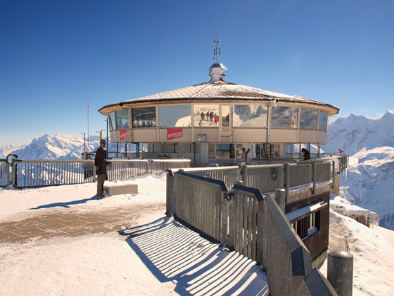 Outside Piz Gloria Restaurant on Schilthorn