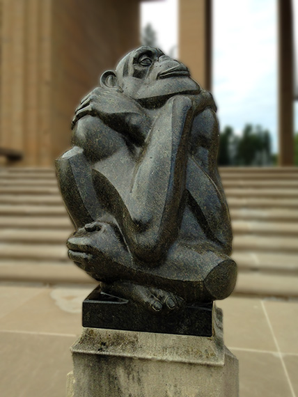The Thinker sculpture is placed in front of the Cranboorg Museum
