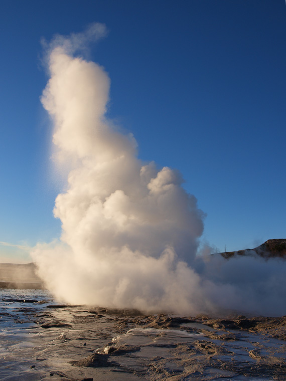 geyser sending water up to many feet