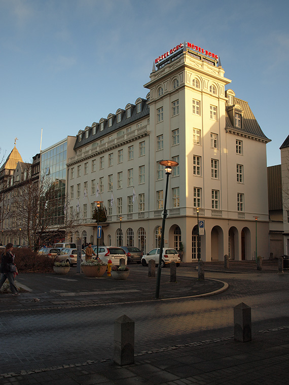view on Borg hotel from the Parliament square