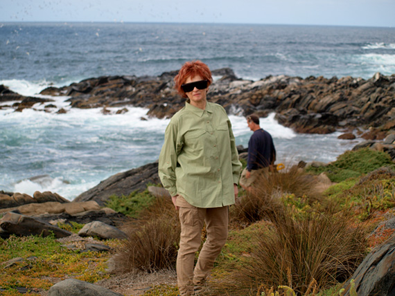 Irene Shaland stands on the beach at Kangaroo Island