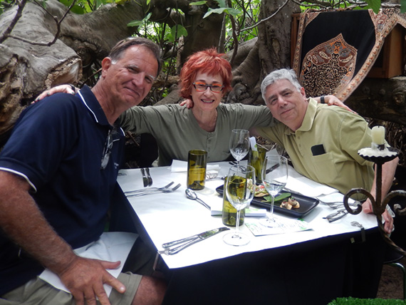 Steve Lane, Irene Shaland, and Alex Shaland at Fig Tree Restaurant