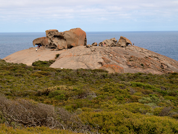 This huge granite boulder with smaller rocks on top is called Remarkable Rocks