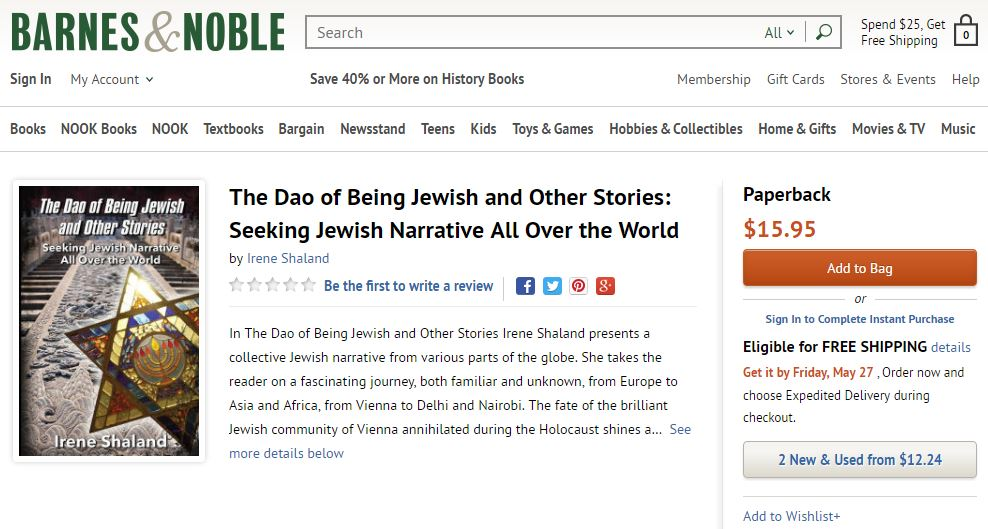 Barnes and Noble online store displays Irene Shaland's book The Dao of Being Jewish and Other Stories