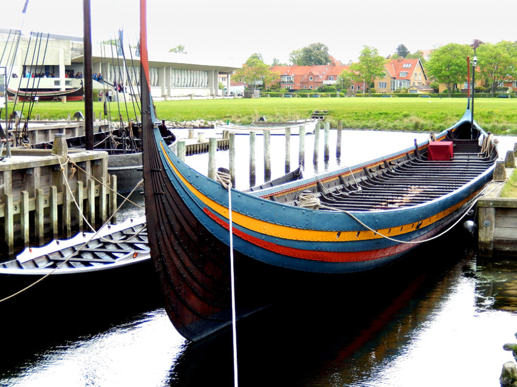 replica of a viking long boat