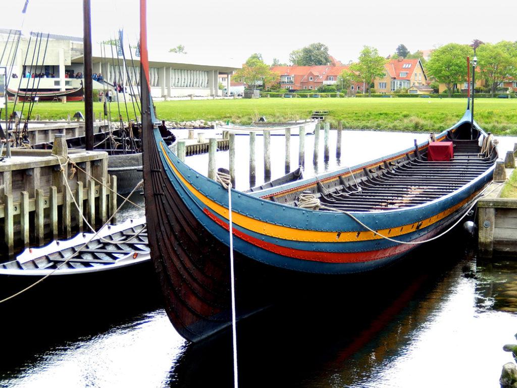 replica of a viking long boat