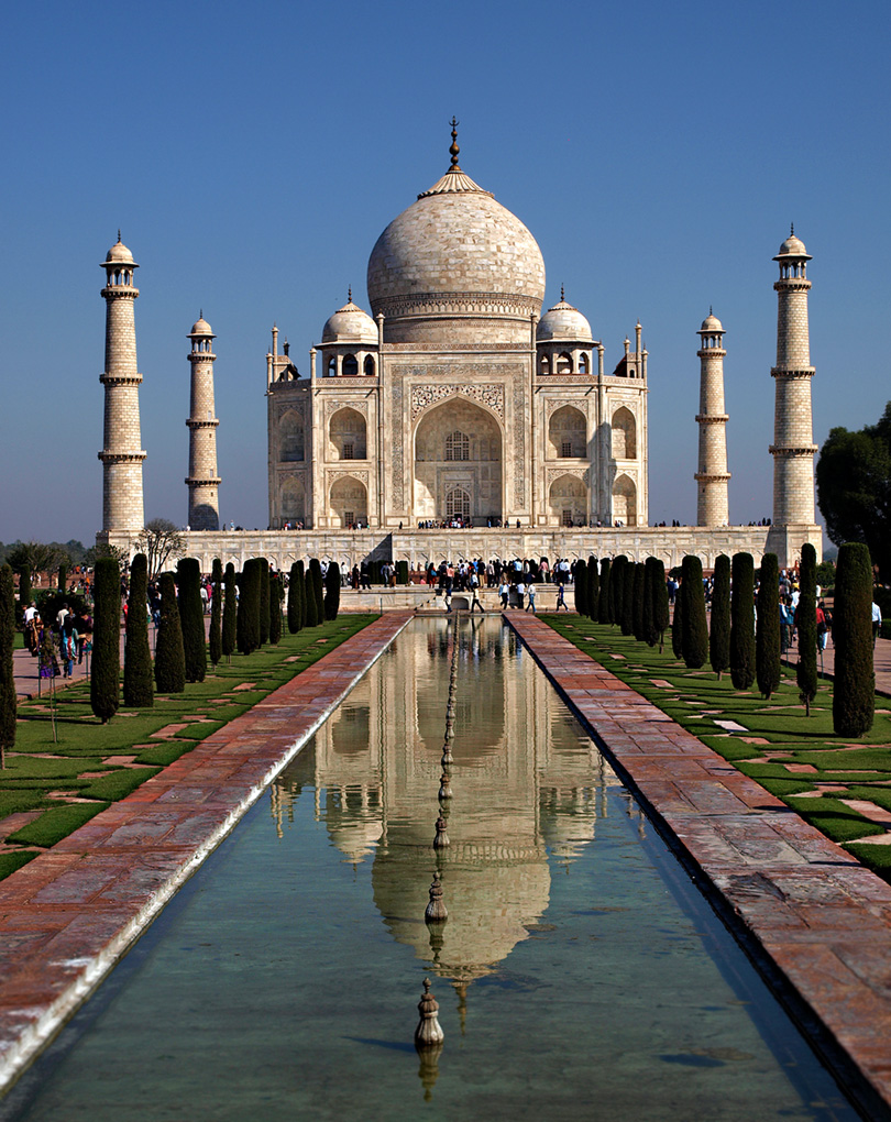Taj Mahal with its reflection in the pool