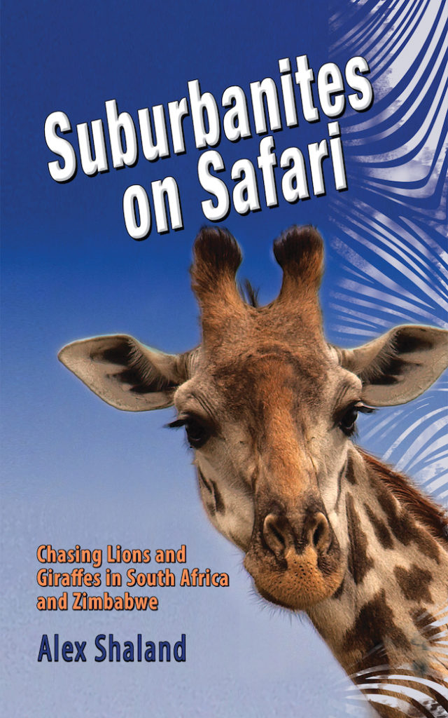 giraffe against a blue sky and book name