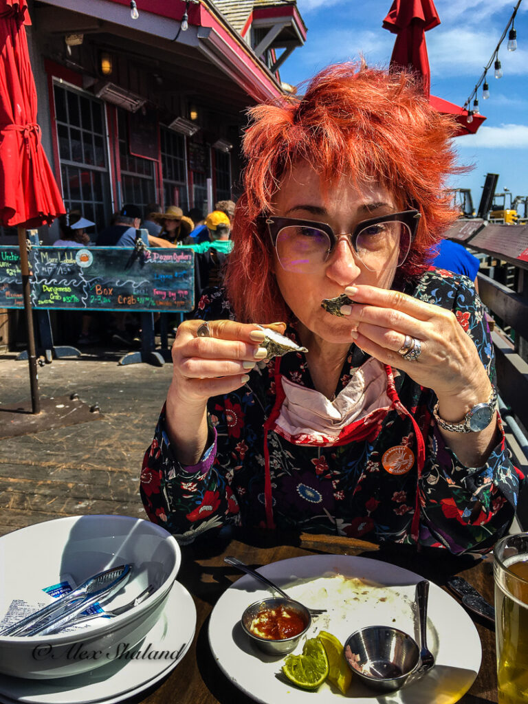 Irene Shaland eating oysters