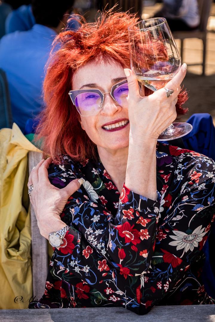 Irene Shaland drinking wine.