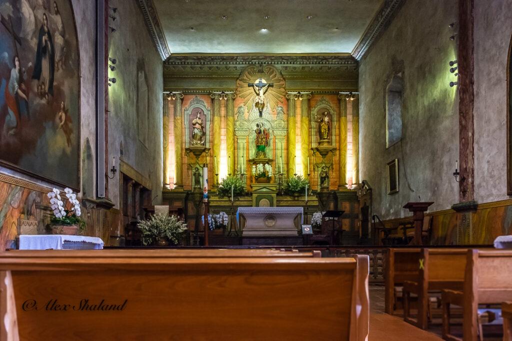 Interior of the Old Spanish Mission Church in Santa barbara, California