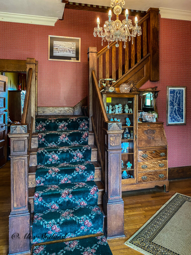 Stairs to the secon floor of the inn.